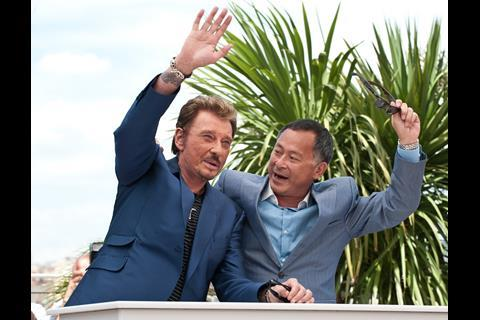 """(L-R) Actor Johnny Hallyday and director Johnnie To at the photo call of """"Vengeance"""" at the 62nd Cannes Film Festival in Cannes"""